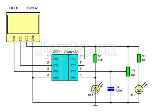Тахометр - простой измеритель оборотов на базе микроконтроллера ATtiny13A