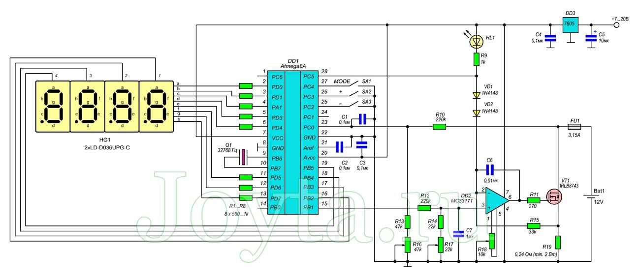 Тестер емкости аккумулятора на Atmega8. Схема и описание