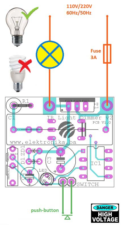 Дистанционный регулятор освещенности на микроконтроллере PIC12F629 / PIC12F675 схема подключения