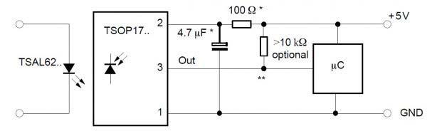 Схема подключения TSOP17XX