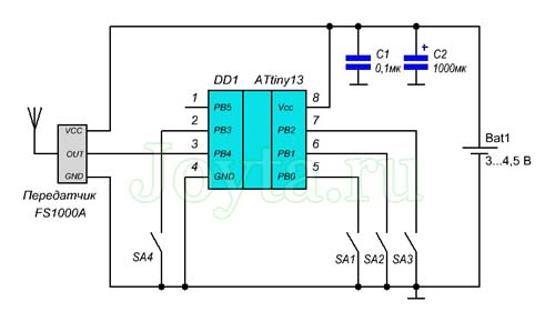 Радиочастотный пульт дистанционного управления - передатчик