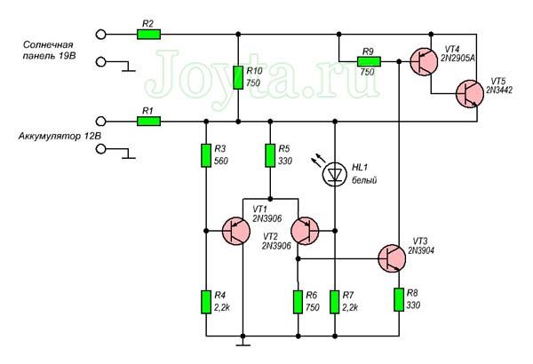 Регулятор для солнечной панели с малым падением напряжения на 5 транзисторах